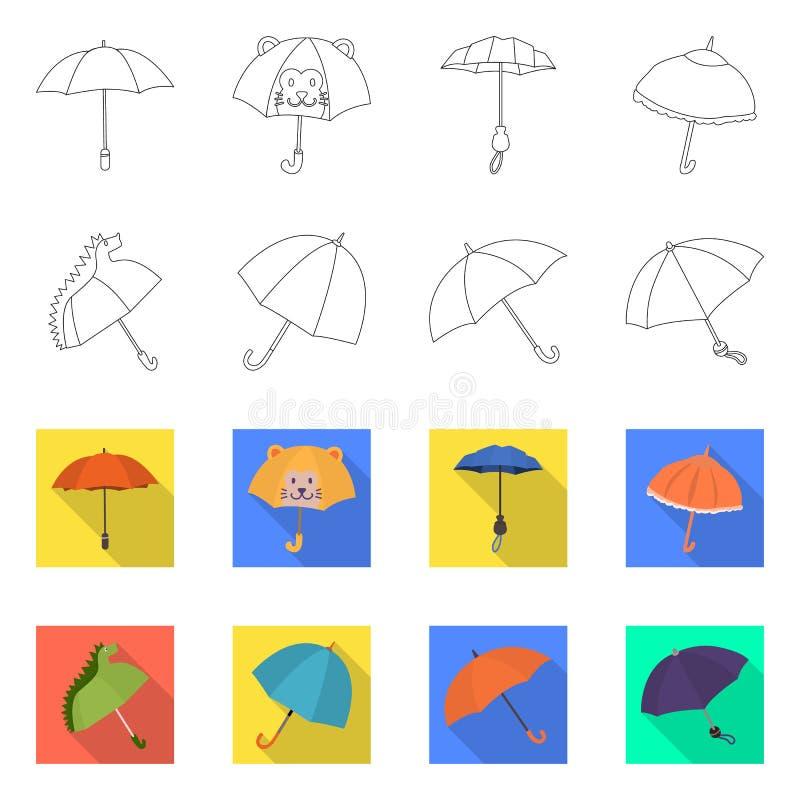 Vektordesign av skydd och det st?ngda tecknet Samlingen av skydd och regnigt lagerf?r vektorillustrationen stock illustrationer