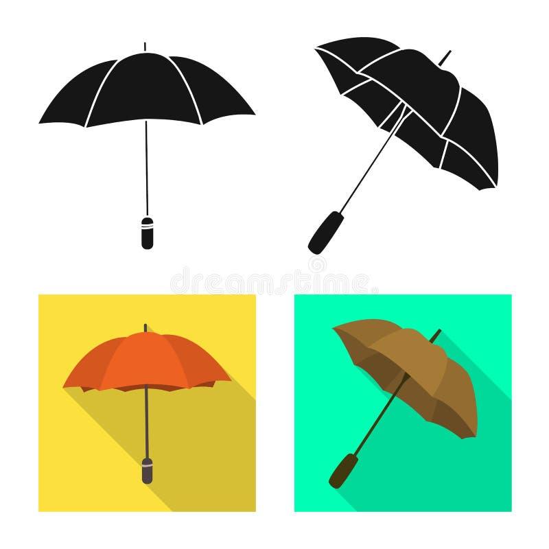 Vektordesign av skydd och det st?ngda tecknet Samlingen av skydd och regnigt lagerf?r vektorillustrationen vektor illustrationer