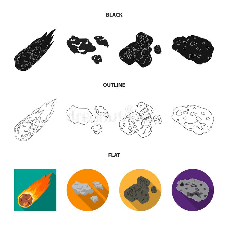 Vektordesign av skytte- och brandsymbolet Upps?ttning av skytte- och asteroidvektorsymbolen f?r materiel stock illustrationer