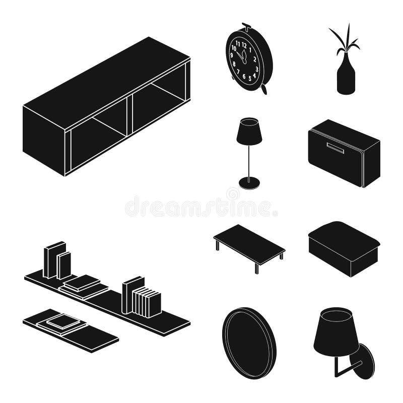 Vektordesign av sovrum- och rumlogoen Uppsättning av sovrum- och möblemangvektorsymbolen för materiel stock illustrationer