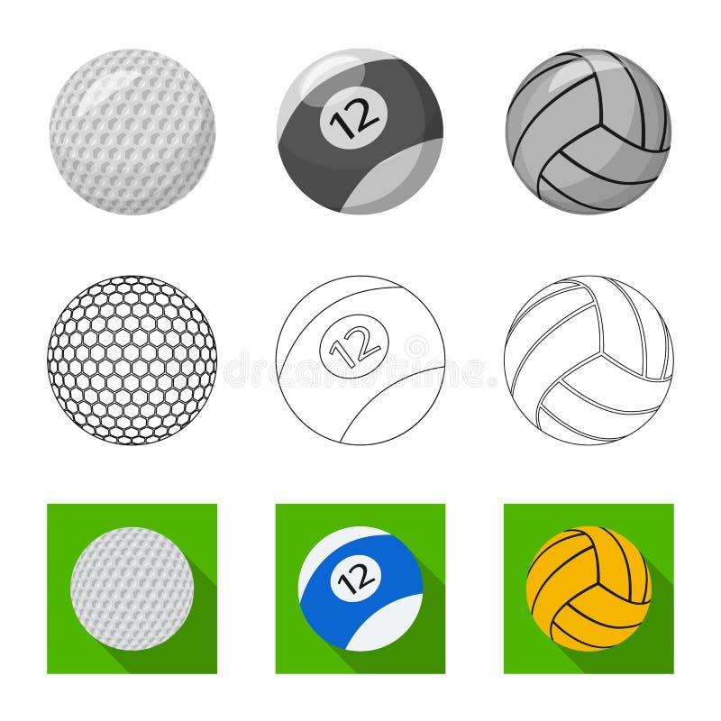 Vektordesign av sport- och bolllogoen Samling av sporten och den idrotts- materielvektorillustrationen vektor illustrationer