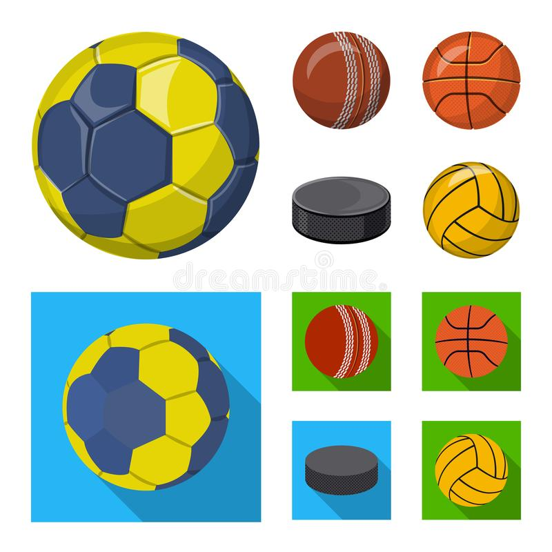 Vektordesign av sport- och bolllogoen Samling av sporten och den idrotts- materielvektorillustrationen stock illustrationer