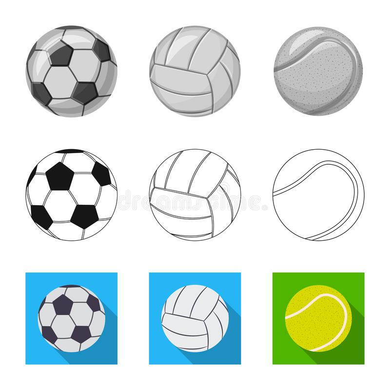Vektordesign av sport- och bolllogoen Samling av sporten och idrotts- vektorsymbol f?r materiel vektor illustrationer