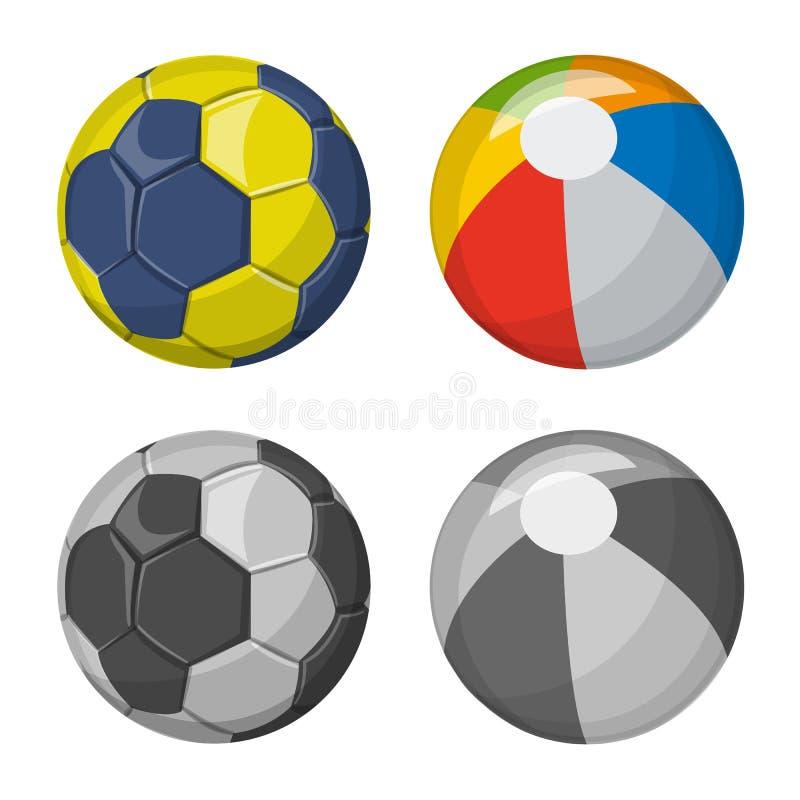 Vektordesign av sport- och bollsymbolen Samling av sporten och det idrotts- materielsymbolet f?r reng?ringsduk stock illustrationer