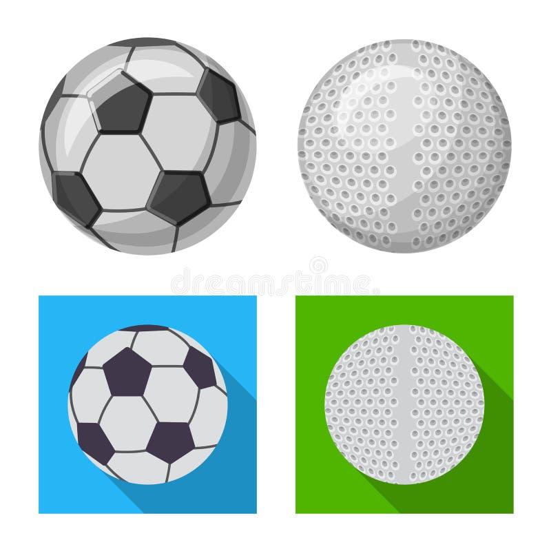 Vektordesign av sport- och bollsymbolen Upps?ttning av sporten och den idrotts- materielvektorillustrationen royaltyfri illustrationer