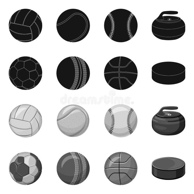 Vektordesign av sport- och bollsymbolen Upps?ttning av sporten och det idrotts- materielsymbolet f?r reng?ringsduk stock illustrationer