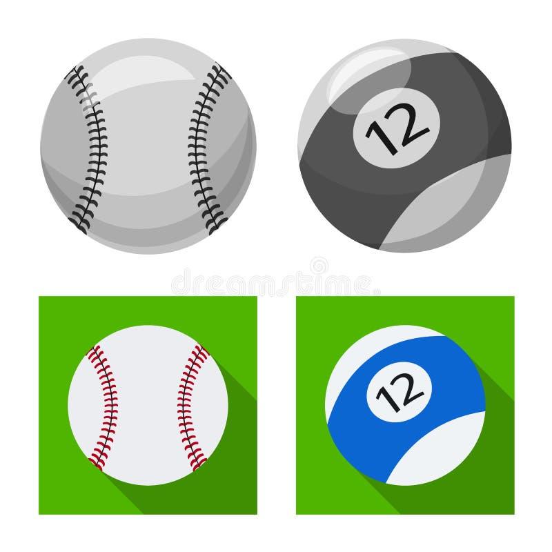 Vektordesign av sport- och bollsymbolen Upps?ttning av sporten och idrotts- vektorsymbol f?r materiel stock illustrationer