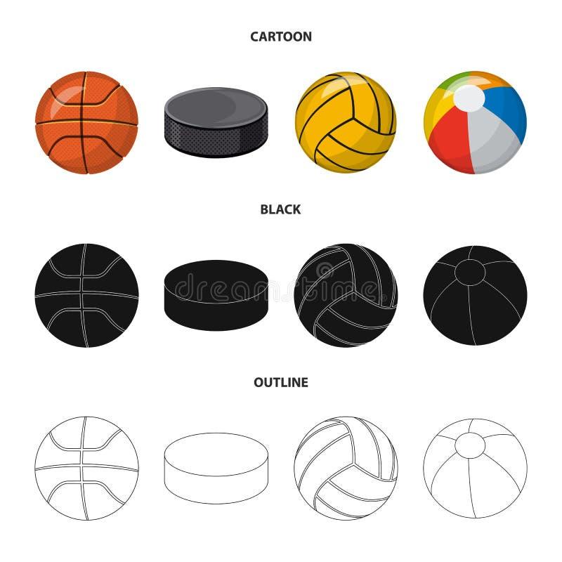 Vektordesign av sport- och bollsymbolet Samling av sporten och det idrotts- materielsymbolet f?r reng?ringsduk royaltyfri illustrationer