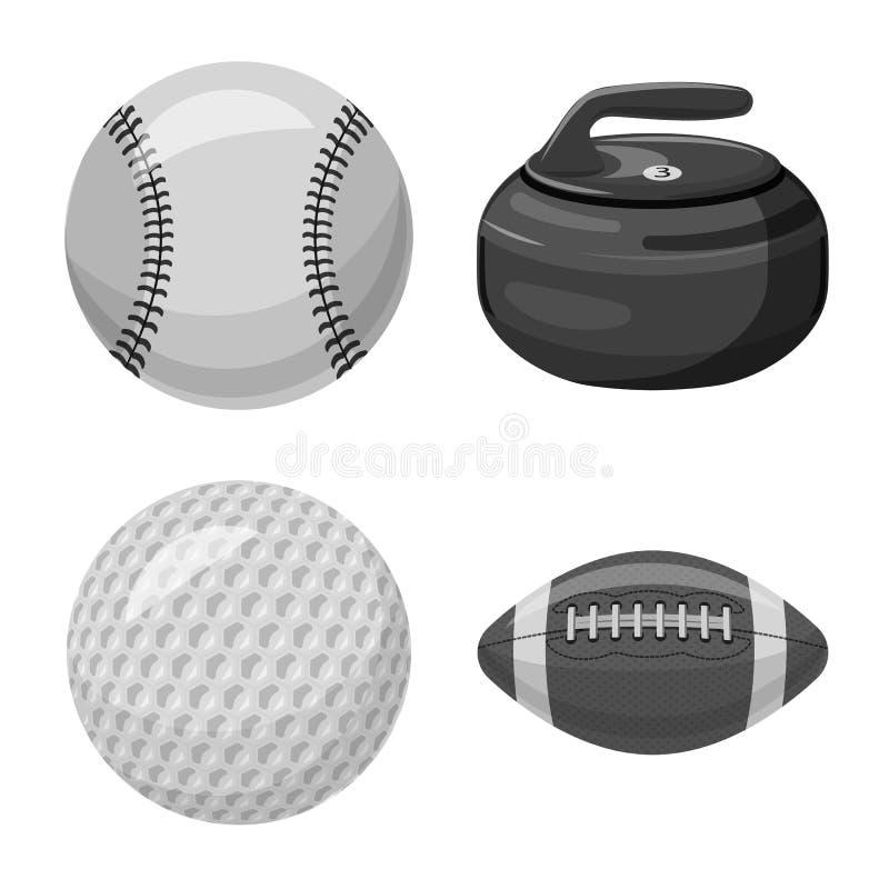 Vektordesign av sport- och bolltecknet Uppsättning av sporten och den idrotts- materielvektorillustrationen stock illustrationer