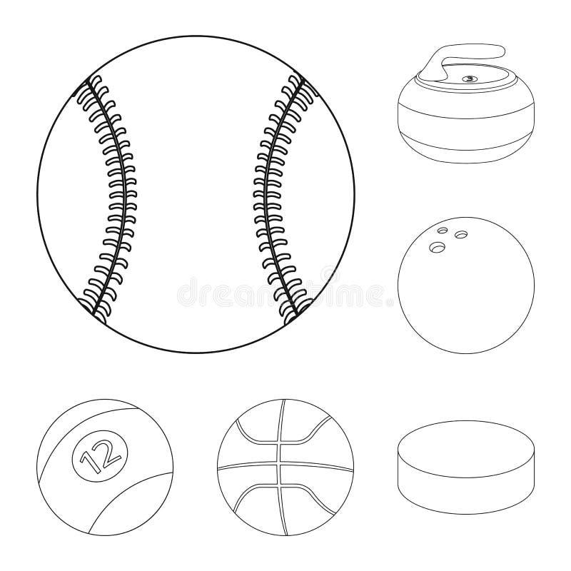 Vektordesign av sport- och bolltecknet Uppsättning av sporten och den idrotts- materielvektorillustrationen royaltyfri illustrationer