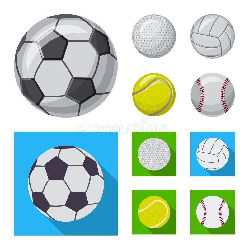 Vektordesign av sport- och bolltecknet Upps?ttning av sporten och den idrotts- materielvektorillustrationen vektor illustrationer