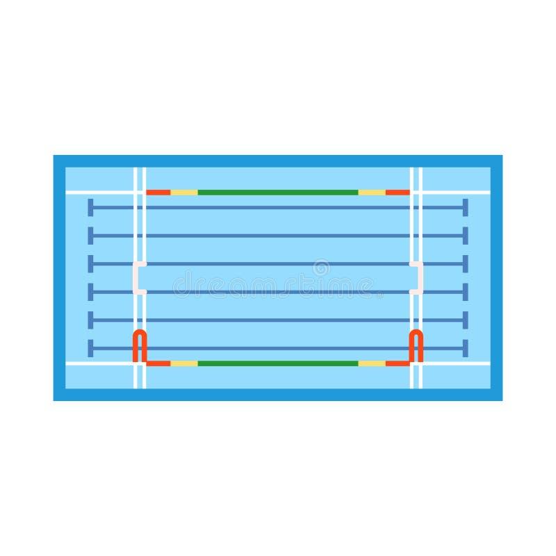 Vektordesign av stadion- och konkurrenslogoen Samling av stadion- och vattenmaterielsymbolet för rengöringsduk vektor illustrationer