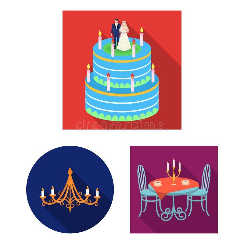 Vektordesign av stearinljus- och ljusstakelogoen Ställ in av stearinljuset och den kyrkliga vektorsymbolen för materiel stock illustrationer