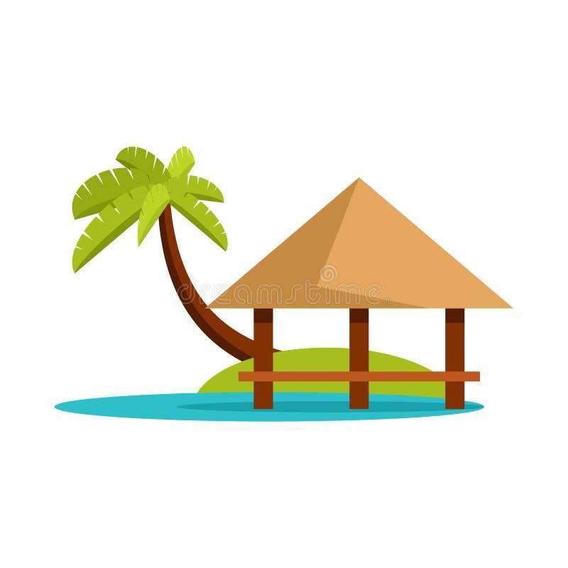 Vektordesign av strand- och bungalowlogoen Samling av stranden och romantisk vektorsymbol för materiel royaltyfri illustrationer