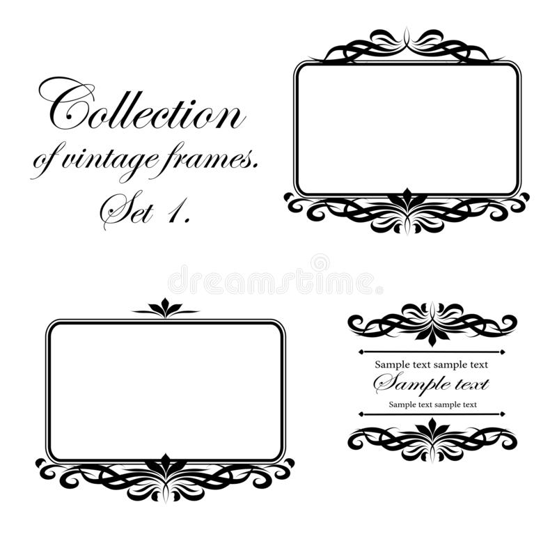 Vektordesign av svarta ramar för tappning på en vit bakgrund för kort, affärskort och inbjudningar royaltyfri illustrationer