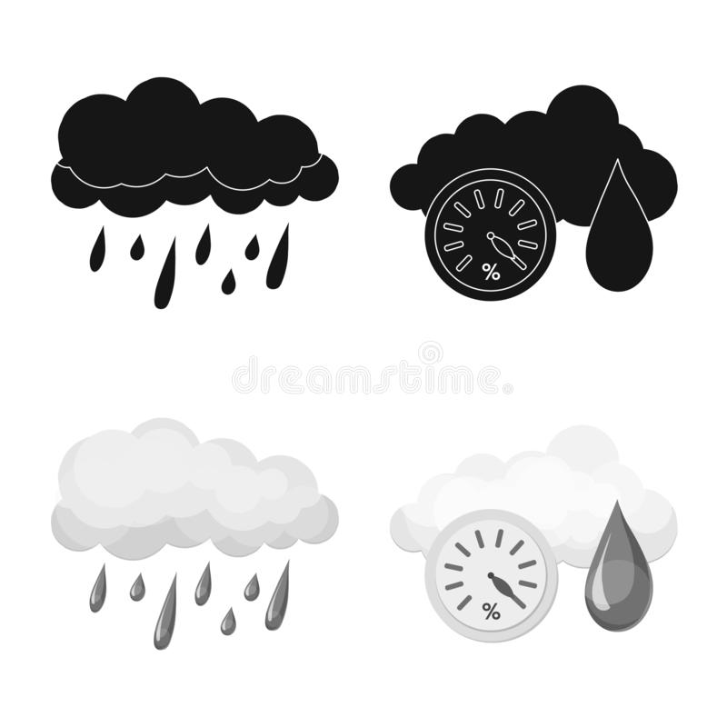 Vektordesign av väder- och klimattecknet Samling av illustrationen för väder- och molnmaterielvektor stock illustrationer