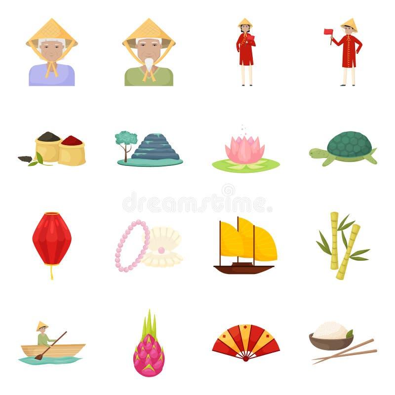 Vektordesign av Vietnam och turismsymbolet Samlingen av Vietnam och loppet lagerför symbolet för rengöringsduk vektor illustrationer