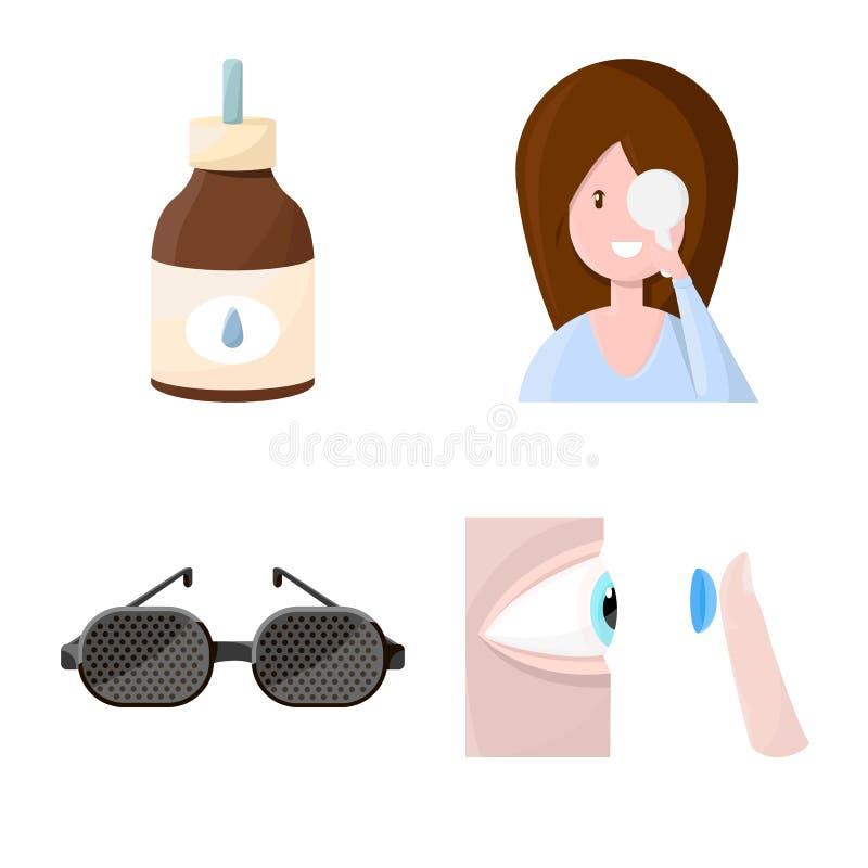 Vektordesign av vision och kliniklogoen Ställ in av vision- och oftalmologivektorsymbolen för materiel royaltyfri illustrationer