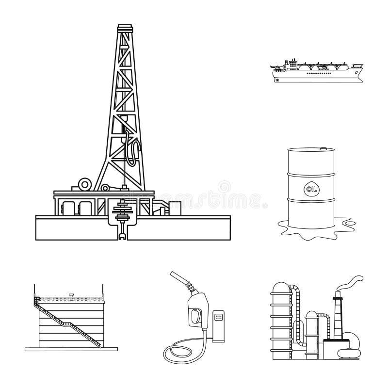 Vektordesign der Öl- und Gasikone Satz der Öl- und Treibstoffvektorikone für Vorrat vektor abbildung