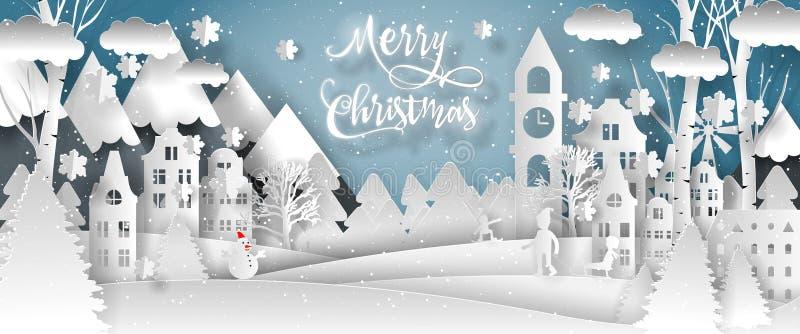 Vektordesign der frohen Weihnachten Guten Rutsch ins Neue Jahr 2019 und frohe Weihnachten stock abbildung