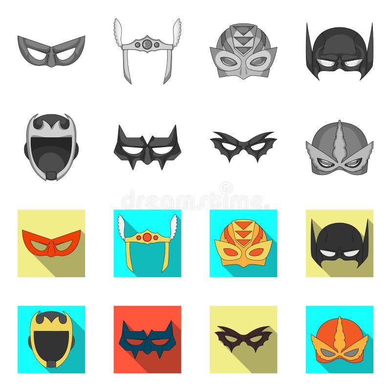 Vektordesign der Held- und Maskenikone Sammlung Vektorillustration des Helden und des Superhelden der auf Lager lizenzfreie abbildung