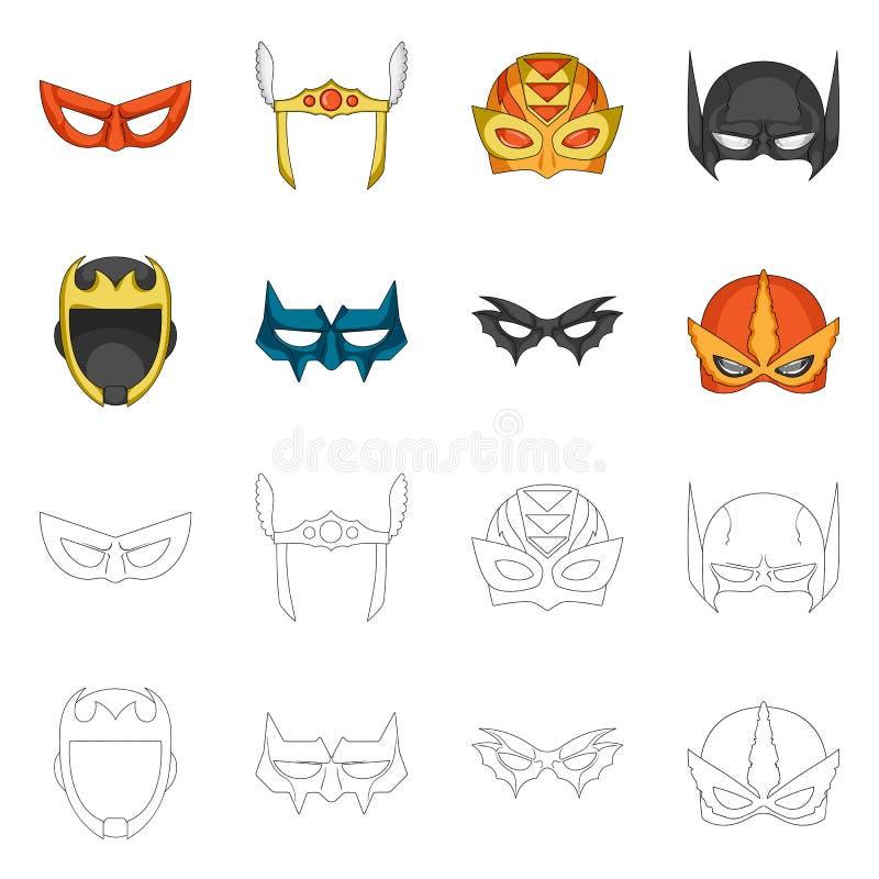 Vektordesign der Held- und Maskenikone Sammlung Vektorillustration des Helden und des Superhelden der auf Lager vektor abbildung
