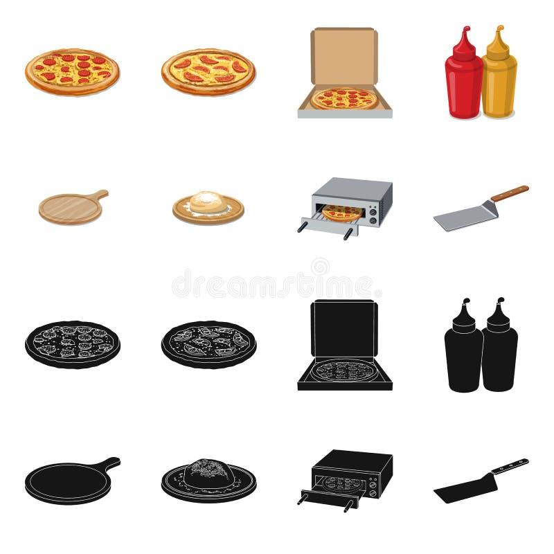 Vektordesign der Pizza- und Lebensmittelikone Satz der Pizza und des Italien-Aktiensymbols f?r Netz stock abbildung