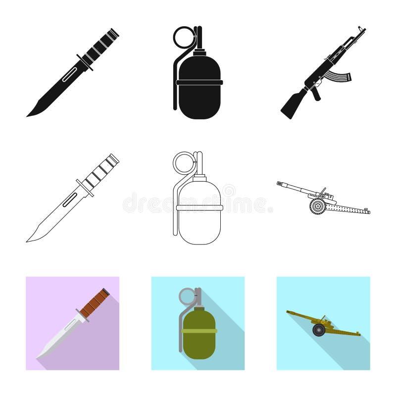 Vektordesign der Waffen- und Gewehrikone Sammlung der Waffen- und Armeevektorikone f?r Vorrat stock abbildung