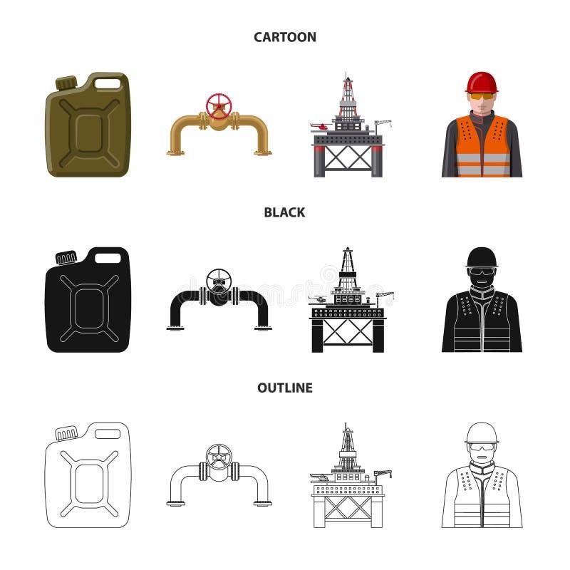 Vektordesign des Öl- und Gaslogos Satz Vektorillustration des Öls und des Treibstoffs der auf Lager stock abbildung
