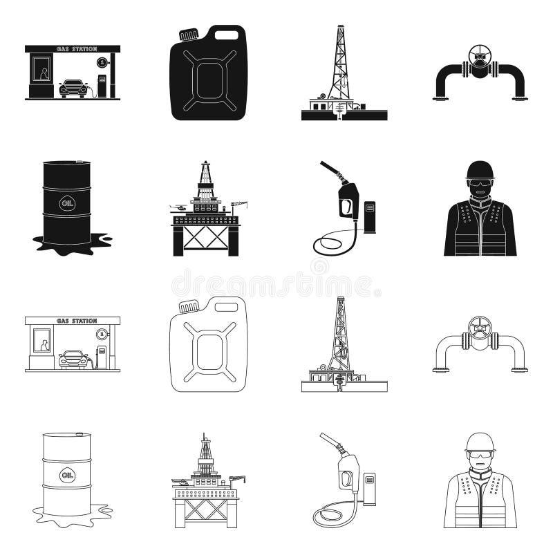 Vektordesign des Öl- und Gassymbols Sammlung Vektorillustration des Öls und des Treibstoffs der auf Lager vektor abbildung