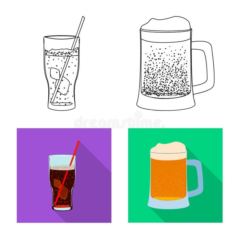 Vektordesign des Getränk- und Barlogos Satz des Getränk- und Parteiaktiensymbols für Netz lizenzfreie abbildung