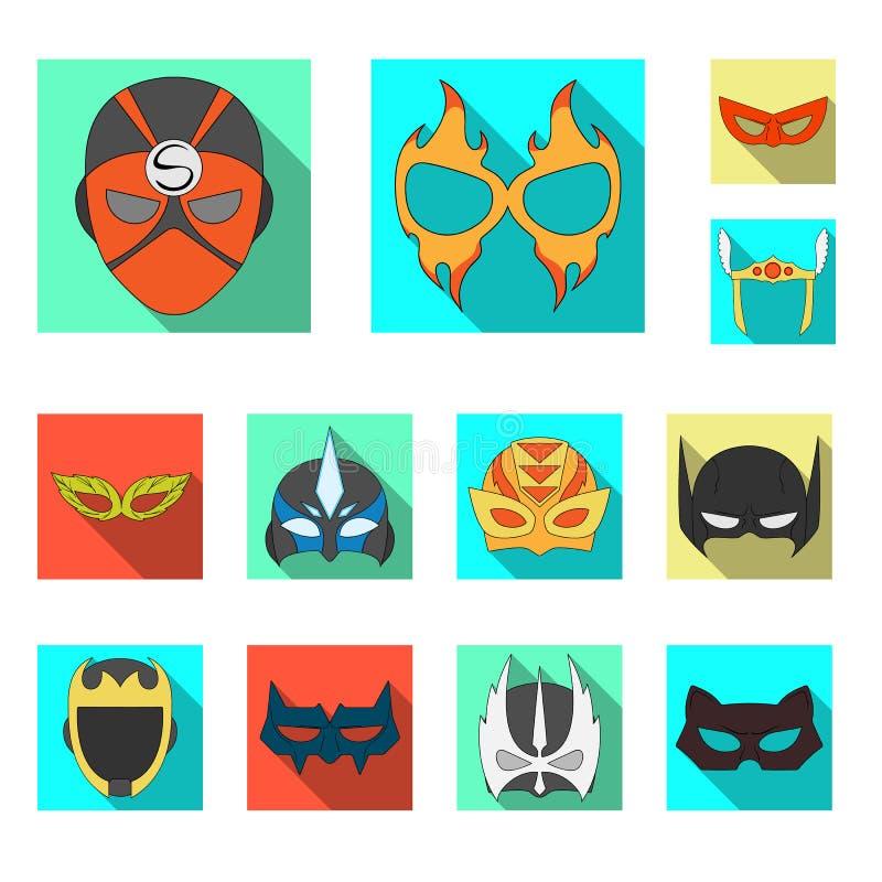 Vektordesign des Held- und Maskensymbols Sammlung der Held- und Superheldvektorikone für Vorrat vektor abbildung