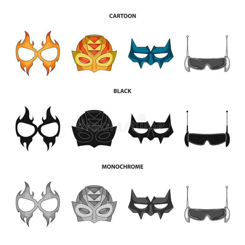Vektordesign des Held- und Maskensymbols Satz der Held- und Superheldvektorikone für Vorrat vektor abbildung