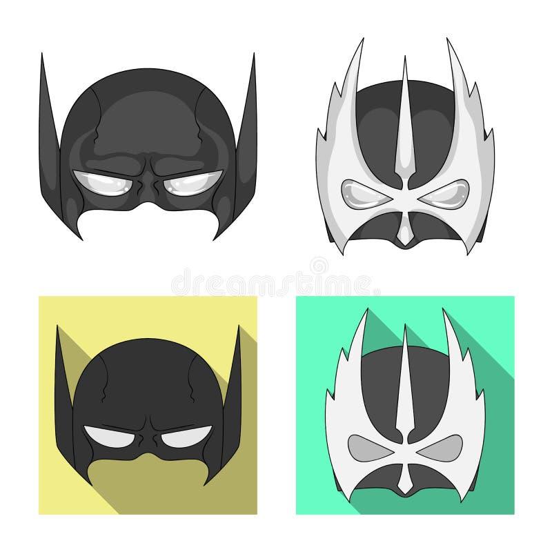 Vektordesign des Held- und Maskenzeichens Sammlung des Held- und Superheldaktiensymbols für Netz lizenzfreie abbildung