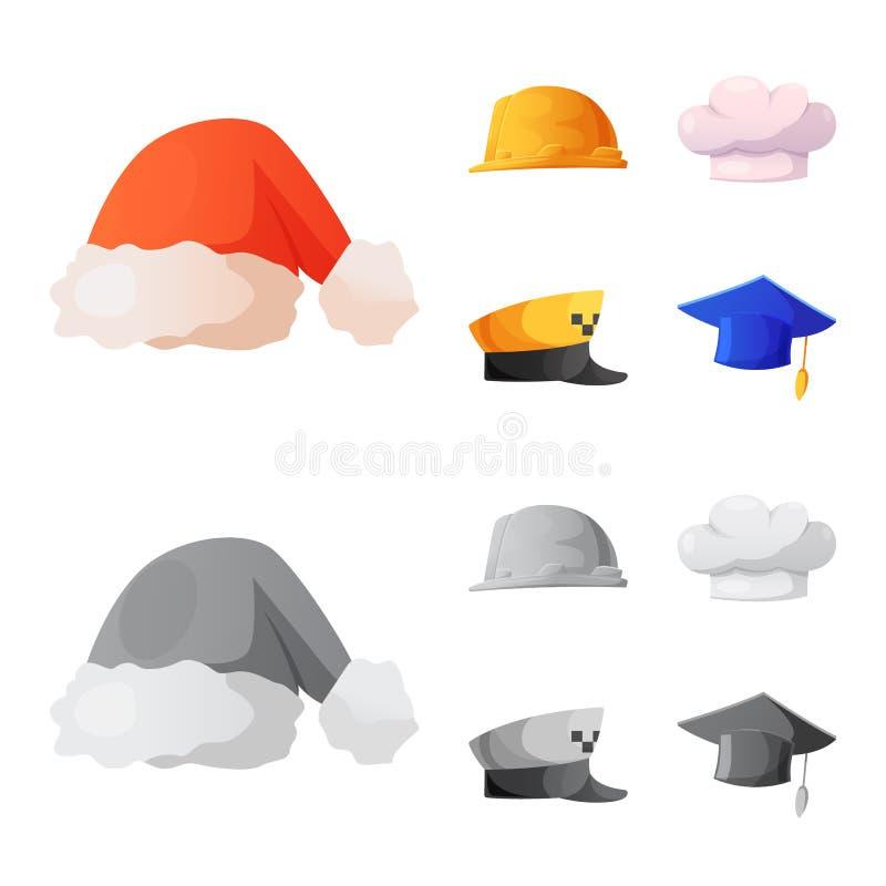Vektordesign des Kopfbedeckungs- und Kappensymbols Sammlung Vektorillustration der Kopfbedeckung und des Zusatzes der auf Lager lizenzfreie abbildung