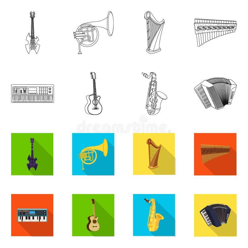 Vektordesign des Musik- und Melodielogos Sammlung von Musik und von Werkzeugaktiensymbol f?r Netz lizenzfreie abbildung