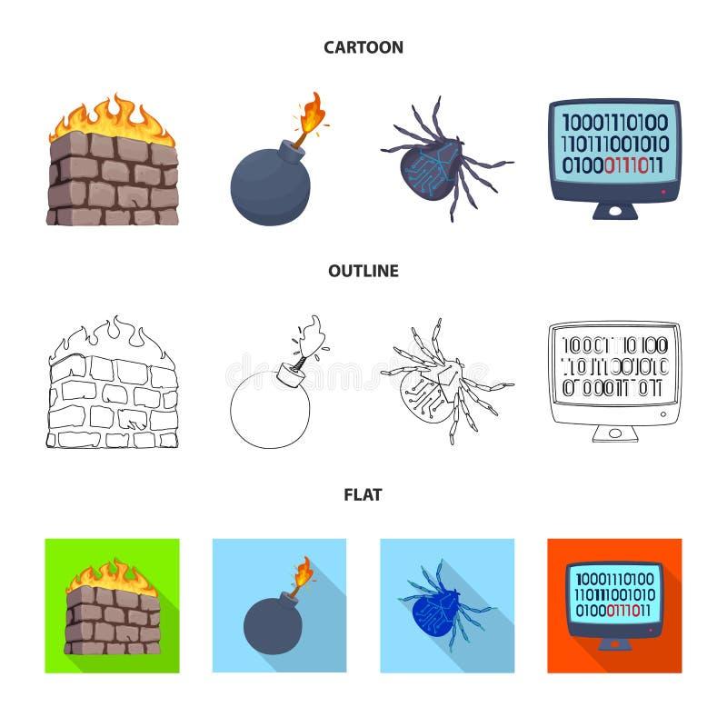 Vektordesign des Virus und der sicheren Ikone Satz des Virus und Cybervektorikone f?r Vorrat vektor abbildung