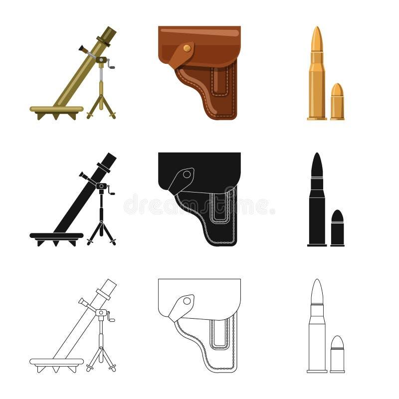 Vektordesign des Waffen- und Gewehrzeichens Satz des Waffen- und Armeeaktiensymbols f?r Netz lizenzfreie abbildung