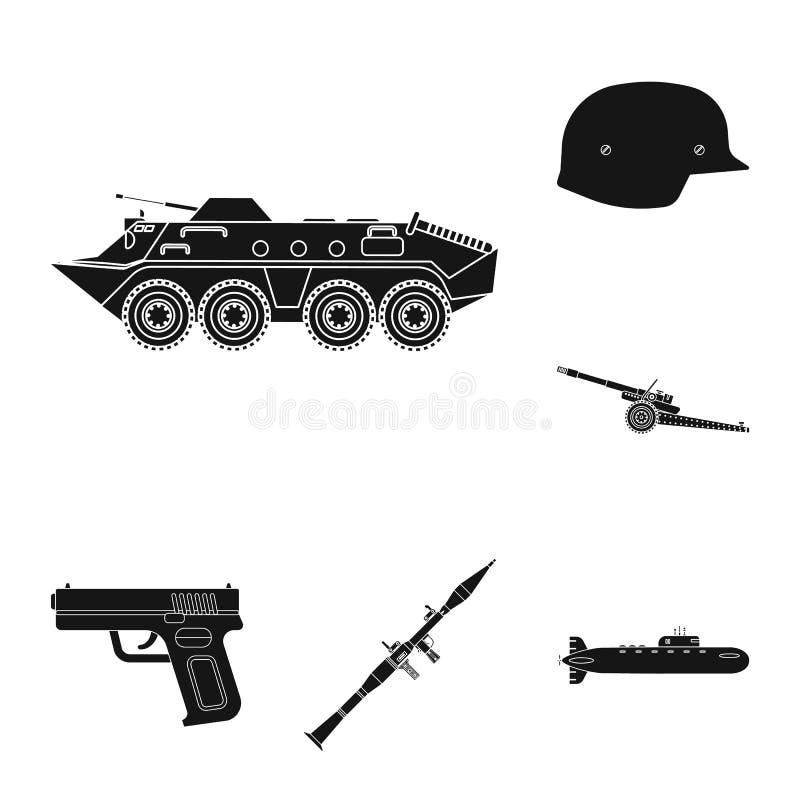 Vektordesign des Waffen- und Gewehrzeichens Satz der Waffen- und Armeevektorikone f?r Vorrat lizenzfreie abbildung