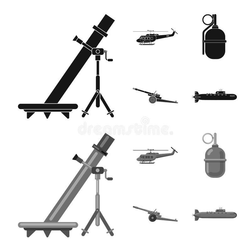 Vektordesign des Waffen- und Gewehrzeichens Satz der Waffen- und Armeevektorikone f?r Vorrat vektor abbildung