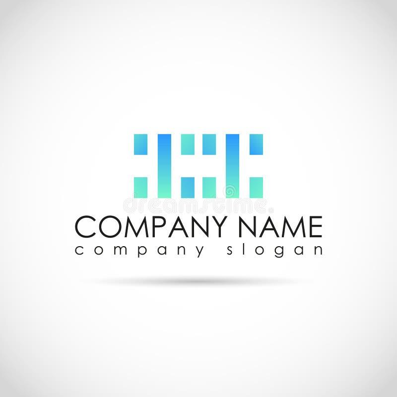Vektordesign för din företagslogo, minimalistic abstrakt begreppblått och gräsplansymbol Företags mall för affär stock illustrationer