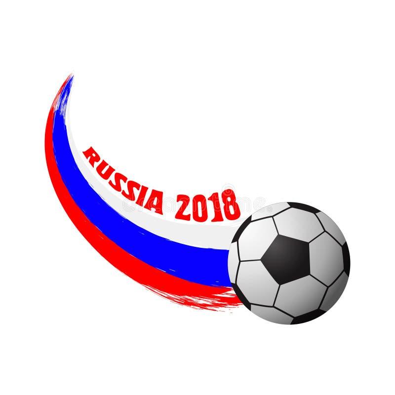Vektordesign för fotbollvärldscupen 2018 Fotbollmästerskapemblem, reklambladmall bakgrund isolerad white vektor illustrationer