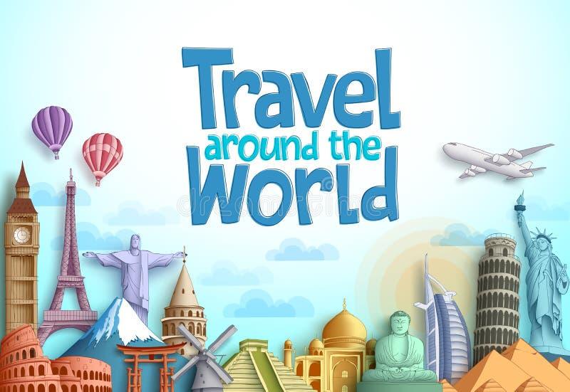 Vektordesign för lopp runt om världen med berömda gränsmärken och den turist- destinationen av olika länder royaltyfri illustrationer