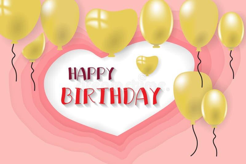 Vektordesign för lycklig födelsedag med ballongen arkivfoto