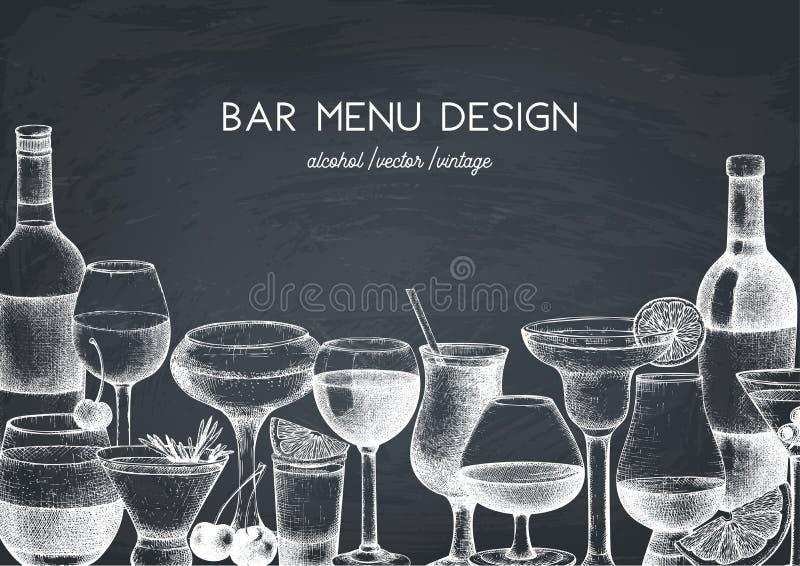 Vektordesign med den utdragna drinkillustrationen för hand Tappningdrycker skissar bakgrund Retro mall som isoleras på den svart  stock illustrationer