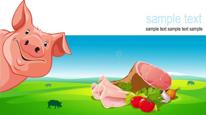 vektordesign med svinet, skinka, griskött, grönsak royaltyfri illustrationer