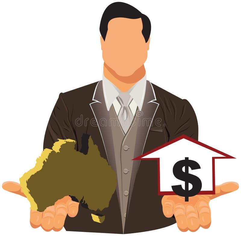 Vektordesignbegrepp av affärsmannen i dräkt med den australiska översikten och dollaren royaltyfri illustrationer