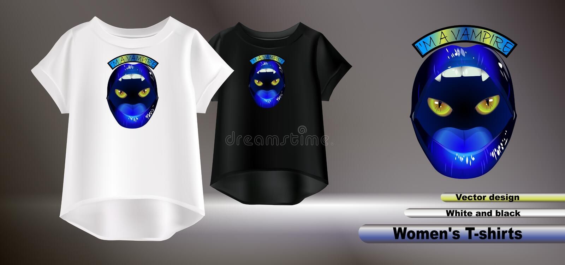 Vektordesignen av blåa kanter skrivar ut på vita kvinnors t-skjorta royaltyfri illustrationer