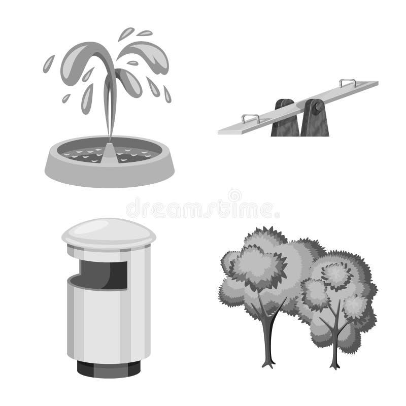 Vektordesignen av parkerar och stadslogoen St?ll in av parkerar och gatavektorsymbolen f?r materiel stock illustrationer