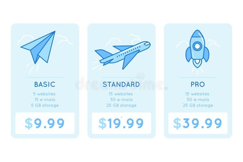 Vektordesignmall för att prissätta tabellen för website vektor illustrationer
